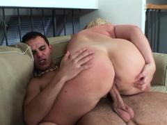 Busty blonde grandma sucks and rides his cock