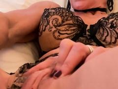 French blonde MILF Marina Beaulieu masturbates with a sextoy