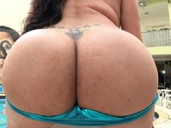 Huge booty latina tgirl fingered and barebacked