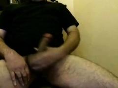 Silver daddy bear jacking his hard cock