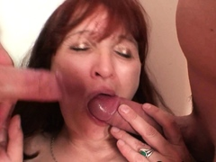 Redhead granma gets involved into threesome sex