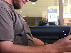 Horny Guy Bustin A Nut at the Bank ( Hands free Public Cum )
