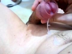 Frenum cum my shaved cock, sperm loads