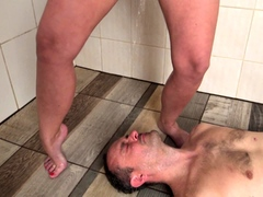 Humiliated the slave in the shower as a full pissed sissy!