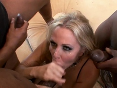 PAWG gets bukkake after handling three black cocks
