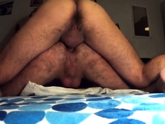 Hairy guy takes raw cock