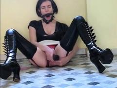 Latex fetish maid dildo sex in kitchen