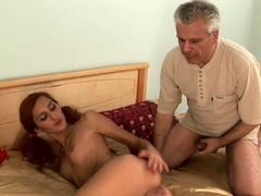 Staggering redhead Karina C. and huge phallus