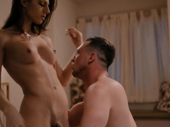 Busty brunette shemale Jade Venus gets barebacked by a guy