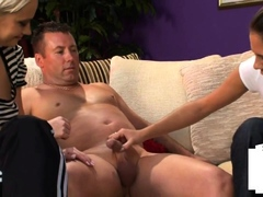 Clothed dominas jerk couriers small dick