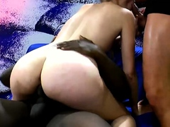Black and white dicks drill sexy skinny blonde