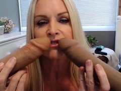 Busty stepmom Kelly Collins fucks herself with a dirty toys