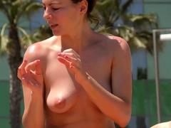Sexy woman Topless Beach Voyeur Public Nude