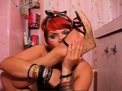 Red Head Sniffing Her Feet and Shoes