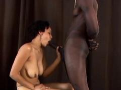 Afro ebony sucks big dick