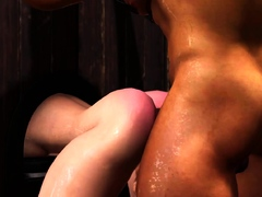 Rough anal sex in gloryhole room with a hot trans girl