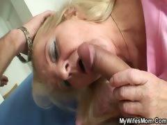 Blonde Granny Rides His Big Dick
